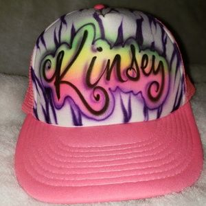 "Other - NWOT Pink Baseball Cap - Airbrushed ""Kinsey"""